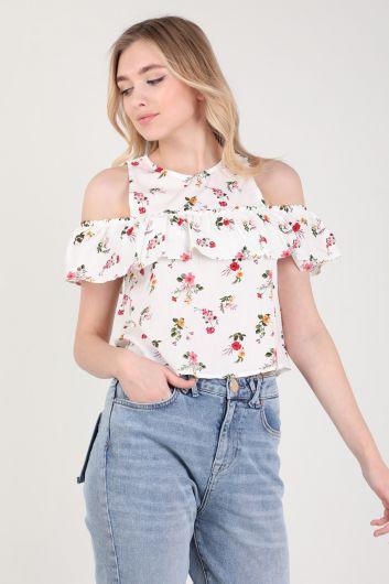 MARKAPIA WOMAN - Женская блуза с цветочным принтом и оборками на бретелях (1)