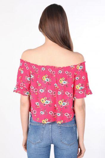 بلوزة نسائية فضفاضة من الأزهار باللون الوردي - Thumbnail