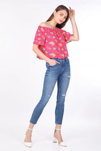 Женская свободная укороченная блузка с цветочным рисунком, розовая - Thumbnail