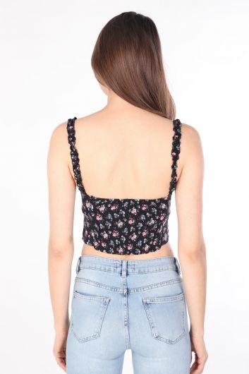 Женское бюстье с цветочным рисунком на ремешках, черное - Thumbnail