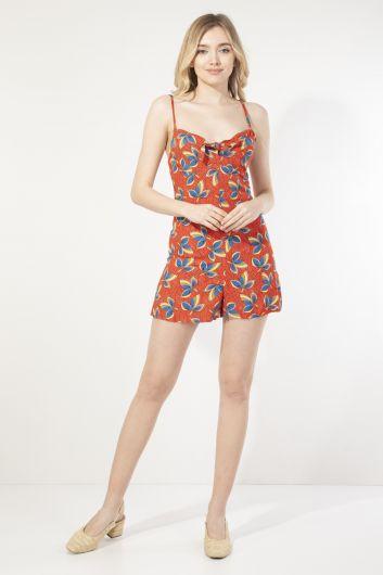 Women's Floral Strappy Short Jumpsuit - Thumbnail