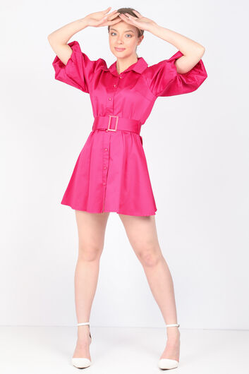 MARKAPIA WOMAN - فستان نسائي بأكمام بالون فوشيا بأزرار (1)