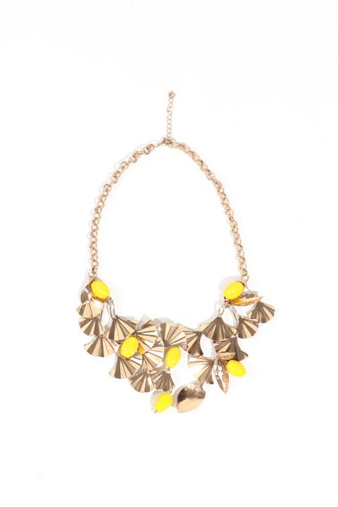 Women's Gold Beaded Metal Chain Necklace