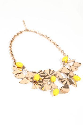 Женское золотое металлическое колье-цепочка с бусинами - Thumbnail