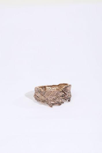 Women's Gold Engraved Leaf Pattern Bracelet - Thumbnail