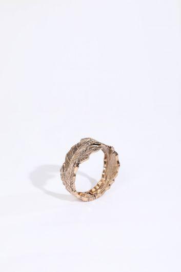 MARKAPIA WOMAN - Женский браслет с гравировкой в виде листьев с золотым узором (1)