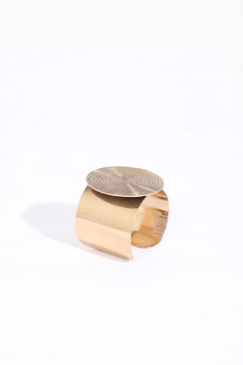 Женский золотой толстый браслет с большой пряжкой - Thumbnail