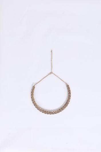 Women's Gold Crescent Necklace - Thumbnail