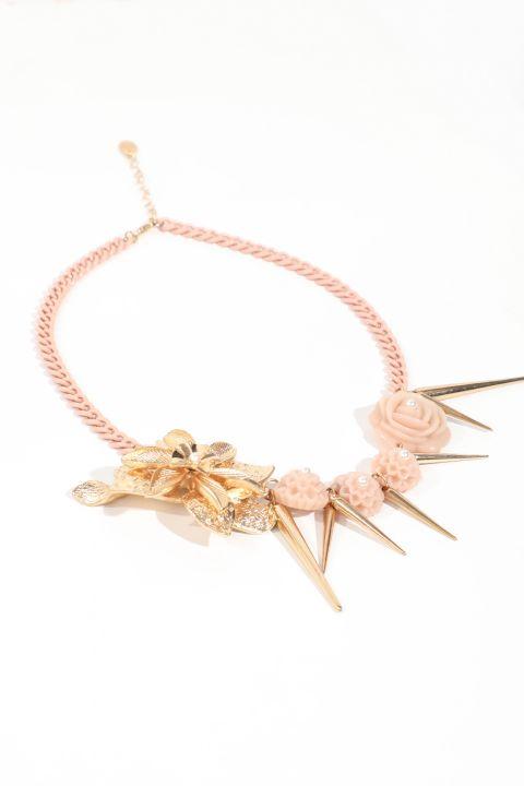 Women's Gold Detailed Powder Chain Necklace