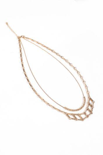 Women's Gold Double Chain Pendant Necklace - Thumbnail