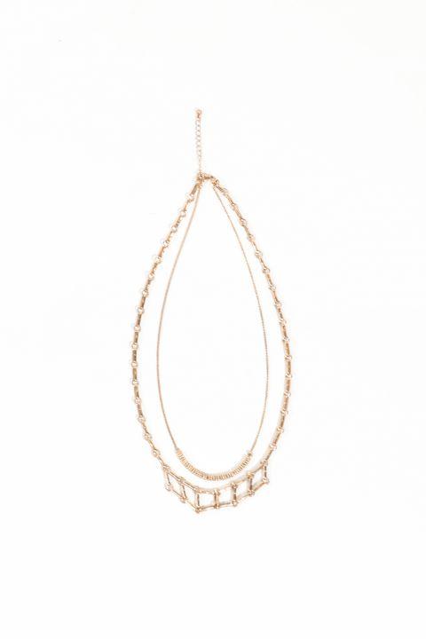 Women's Gold Double Chain Pendant Necklace