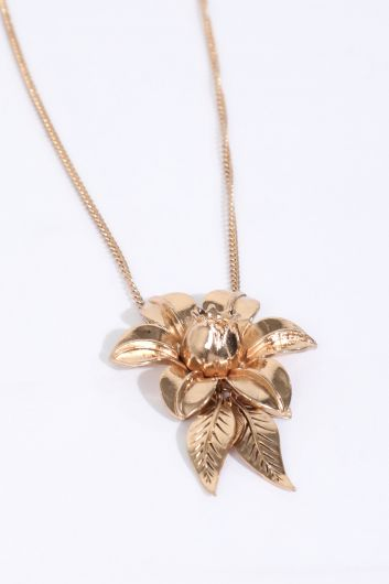 MARKAPIA WOMAN - Women's Gold Floral Embossed Dangle Necklace (1)