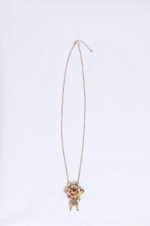 Женское золотое колье с подвесками и тиснением с цветочным рисунком