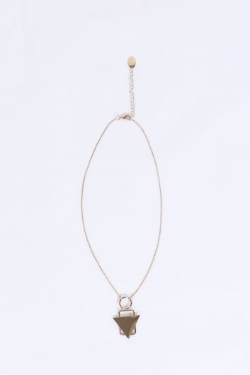 Women's Gold Geometric Thin Chain Choker Necklace - Thumbnail