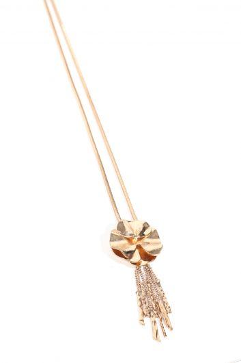 Women's Gold Metal Flower Tassel Pendant Necklace - Thumbnail