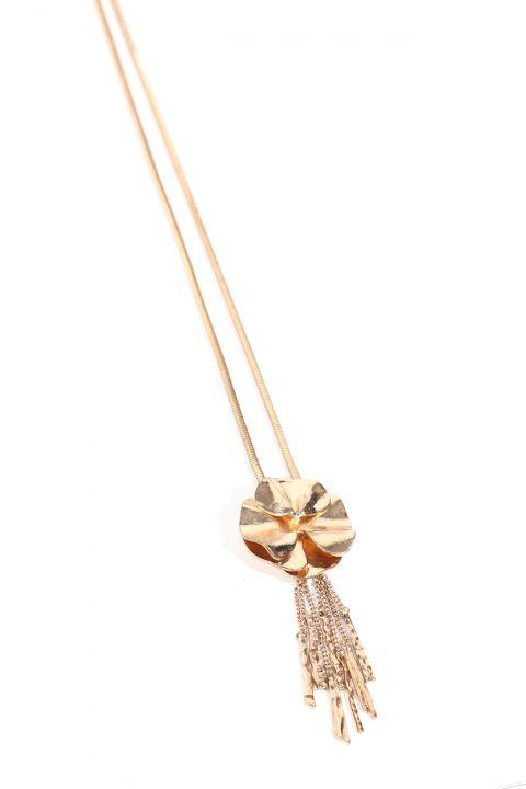 Women's Gold Metal Flower Tassel Pendant Necklace