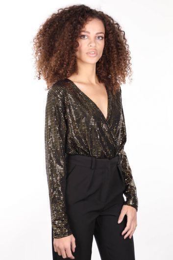 MARKAPIA WOMAN - بدلة نسائية ذات ياقة مزدوجة الصدر مطلية بالترتر الذهبي (1)