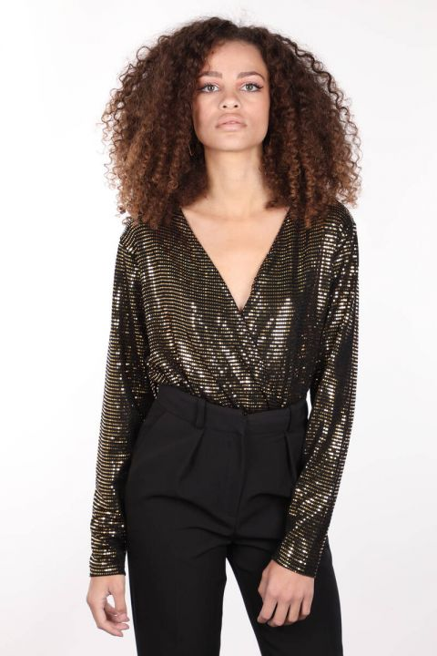 Women's Gold Sequin Double Breasted Collar Bodysuit