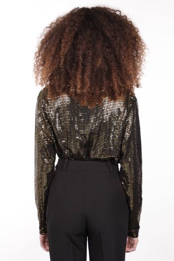 Women's Gold Sequin Double Breasted Collar Bodysuit - Thumbnail