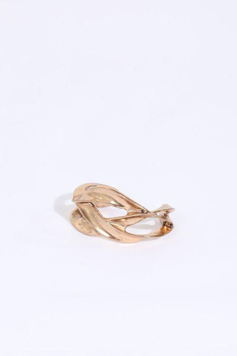 Женский золотой толстый браслет