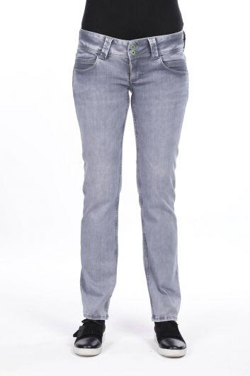 Women's Double Gray Pocket Low Rise Jean Trousers - Thumbnail