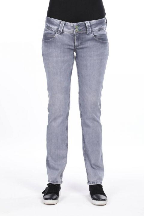 Women's Double Gray Pocket Low Rise Jean Trousers