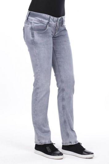 MARKAPIA WOMAN - Women's Double Gray Pocket Low Rise Jean Trousers (1)