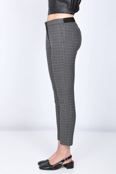 MARKAPIA WOMAN - Women's Gray Waist Elastic Plaid Fabric Trousers (1)