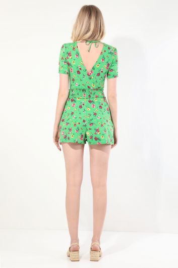Женские зеленые комбинезоны с цветочным рисунком и шортами - Thumbnail