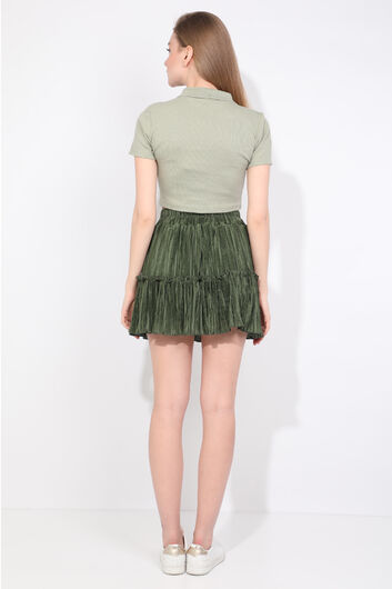 Women's Green Pleated Mini Skirt - Thumbnail
