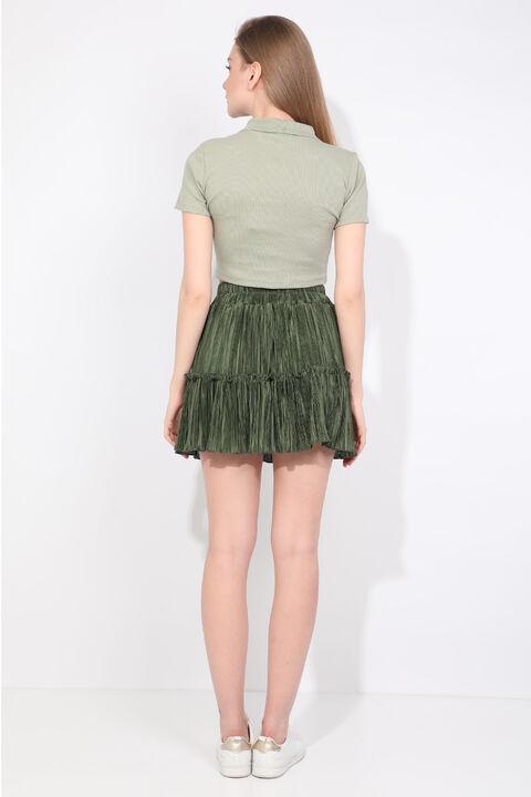 Зеленая женская мини-юбка со складками
