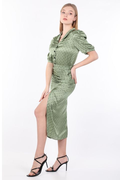 Women's Green Polka Dot Gathered Bottom Top Set