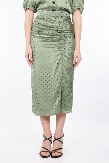 Женская зеленая юбка в горошек со сборками и разрезом - Thumbnail