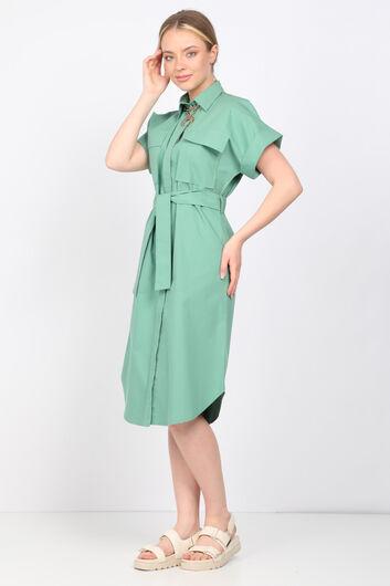 MARKAPIA WOMAN - فستان بوبلين أخضر نسائي (1)
