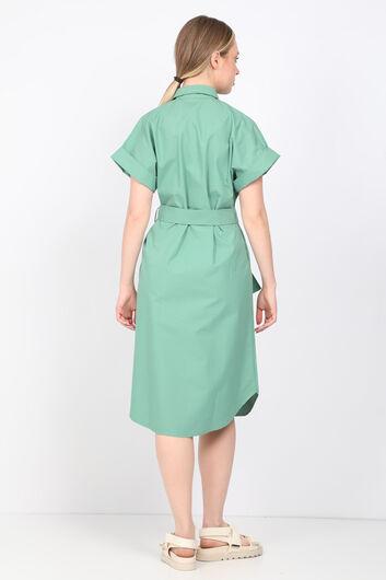 فستان بوبلين أخضر نسائي - Thumbnail