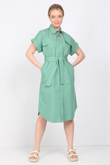Женское платье из зеленого поплина - Thumbnail