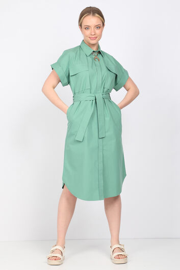 Women's Green Poplin Dress - Thumbnail