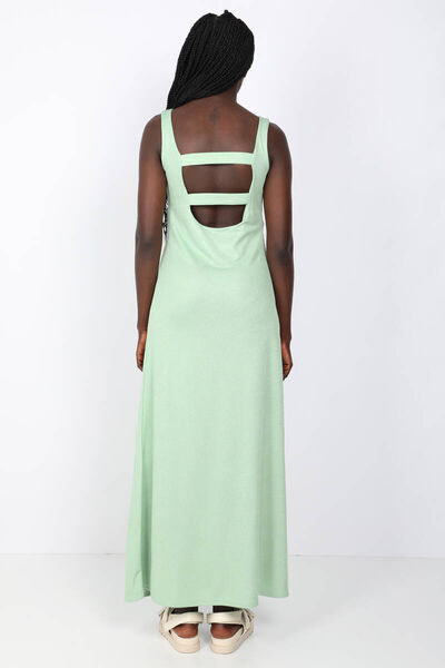 MARKAPIA WOMAN - Женское зеленое платье макси без бретелек с открытой спиной (1)