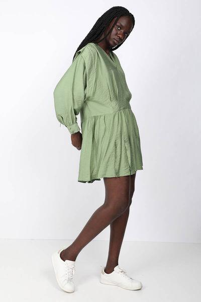 BLUE WHITE - Women's Green V-Neck Pleated Dress (1)