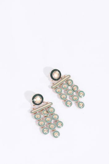Women's Green Dangle Earrings - Thumbnail