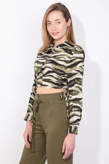 MARKAPIA WOMAN - Women's Green Zebra Pattern Crop Shirt (1)