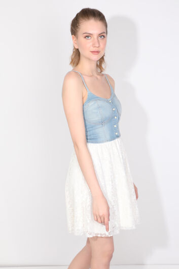 Women's Laced Strappy Jean Dress - Thumbnail