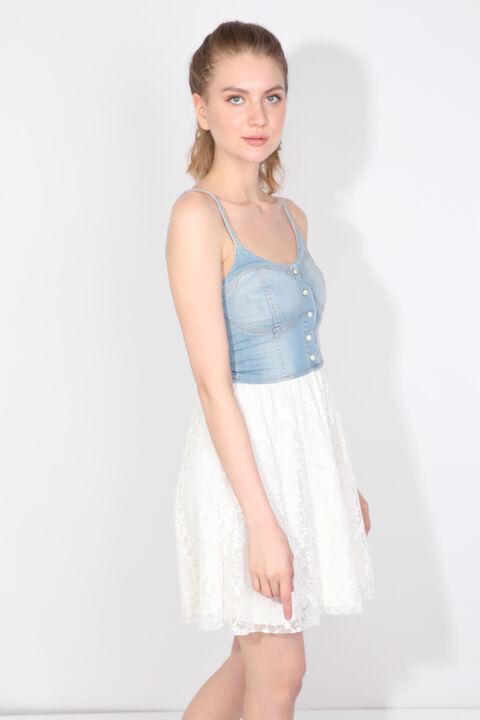 Women's Laced Strappy Jean Dress