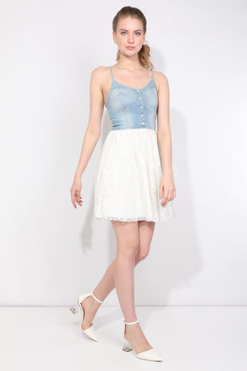 Женское джинсовое платье со шнуровкой и бретелями - Thumbnail