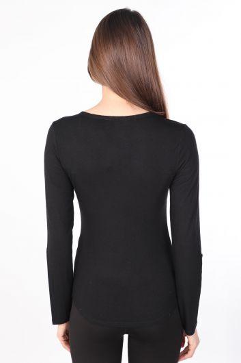 Женская базовая футболка с длинным рукавом с короткими пуговицами Черный - Thumbnail