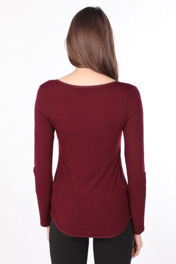 Women's Half-Button Long Sleeve Basic T-shirt Plum - Thumbnail