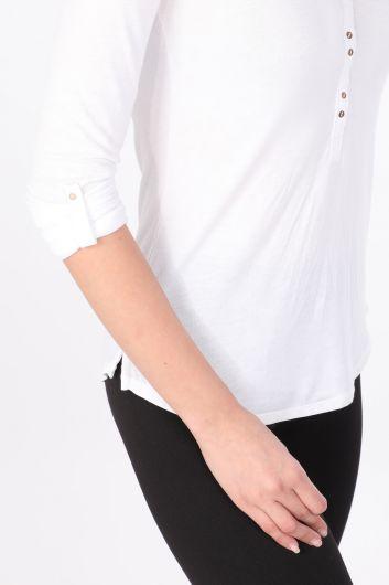 Женская базовая футболка с длинным рукавом на пуговицах Белый - Thumbnail