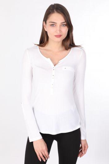 Women's Half-Button Long Sleeve Basic T-shirt White - Thumbnail