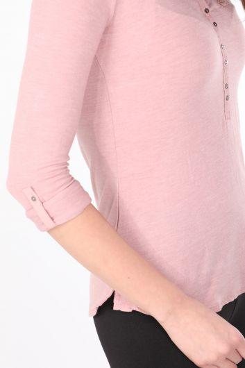 Женская базовая футболка с длинным рукавом на пуговицах Dried Rose - Thumbnail
