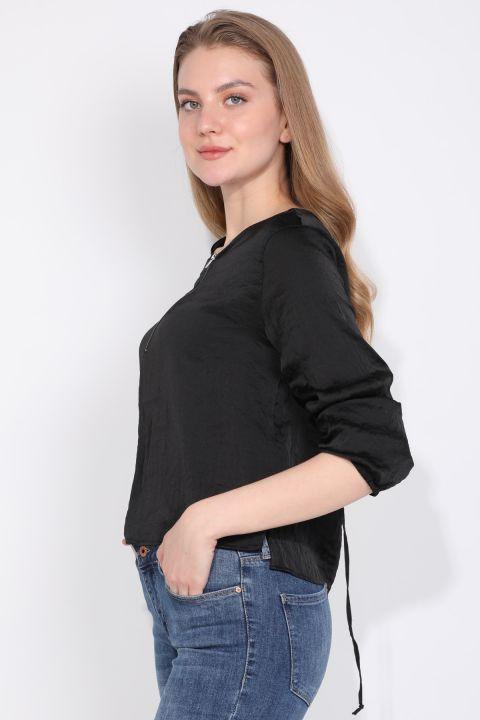 Women Half Zipper Blouse Black